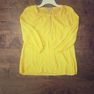 Yellow Banana Republic Blouse with 3/4 sleeve.